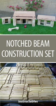 Notched Beam Construction Set #woodworking #toy #kids