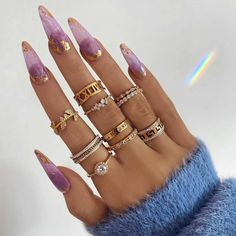 Blue Gold Nails, Light Purple Nails, Light Nails, Purple Gold, Gold Coffin Nails, Black Nails, Matte Black, Cute Acrylic Nails, Glitter Nails