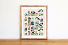 Illustrazione da scaricare subito con tante casette colorate con piante sul tetto. Per camerette e nursery di IlluminoHomeIdeas su Etsy