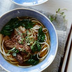 A recipe for Garlic Ginger Beef Noodle Soup.