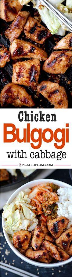 chicken bulgogi with cabbage korean food