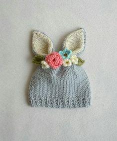 Cotton Crochet, Crochet Baby, Knit Crochet, Baby Knitting Patterns, Hand Knitting, Crochet Patterns, Bunny Hat, Flower Hats, Crochet Flowers