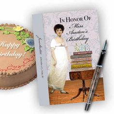 Jane Austen's 238th Birthday  Celebrate Jane Austen's  Birthday with a fun card  by TurtleDoves, set of 4, $8.50 or single 5x7 for $3.75