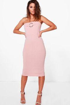 #boohoo O-Ring Bandeau Midi Dress - lotus DZZ56182 #Rebecca O-Ring Bandeau Midi Dress - lotus