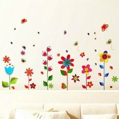 Colourful Flowers and Butterflies Premium Wall Stickers - Removable and Repositionable: Amazon.co.uk: Kitchen & Home Butterfly Wall Stickers, All Wall, Wall Treatments, Diy Tools, Colorful Flowers, Auction, Kids Rugs, Butterflies, Wallpaper