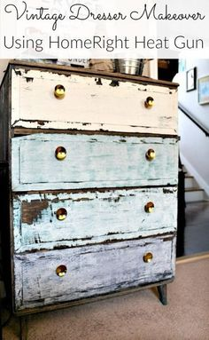 Unbelievably Easy technique To  Give painted wood a Vintage Distressed , Chippy Look By Simply Using a heat gun !