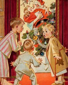 """I saw mommy kissing Santa Claus."" ~Vintage Christmas illustration by Joseph Christian Leyendecker. Vintage Christmas Images, Old Fashioned Christmas, Christmas Past, Retro Christmas, Vintage Holiday, Christmas Pictures, Christmas Greetings, Christmas Morning, Christmas Posters"