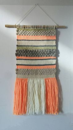 Items similar to Woven wall hanging on Etsy Weaving Wall Hanging, Weaving Art, Tapestry Weaving, Loom Weaving, Tapestry Wall Hanging, Hand Weaving, Wall Hangings, Textiles, Roving Wool