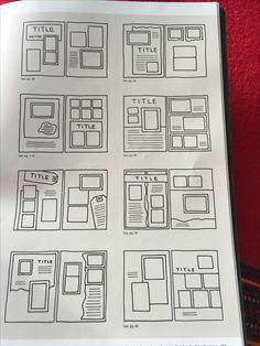 Sketchbook Layout, Scrapbook Layout Sketches, Scrapbook Designs, Journal Layout, Bullet Journal Books, Bullet Journal Ideas Pages, Bullet Journal Inspiration, Photo Album Scrapbooking, Scrapbook Albums