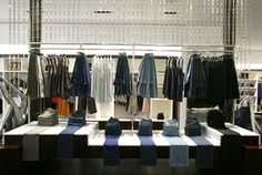 jeans on display - lots of good visual merchandise ideas on this blog