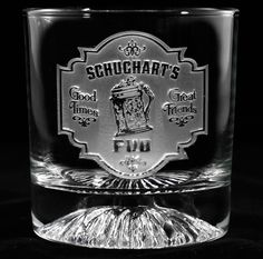 Pub sign Monogrammed whiskey scotch glass at Crystal Imagery.