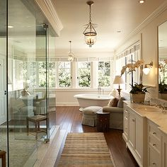 Jean Randazzo - bathrooms - sitting area, bathroom sitting area, master bedroom bathroom, chaise lounge, bathroom chaise lounge,  Huge, gorgeus