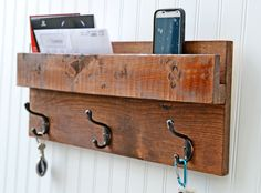 3 Hook Coat Rack, Wall Organizer, Storage Rack, Reclaimed Wood, Repurposed Wood, Cottage Style Coat Rack, Wall Decor, Wood Stained by Toolbox on Etsy https://www.etsy.com/listing/242521216/3-hook-coat-rack-wall-organizer-storage