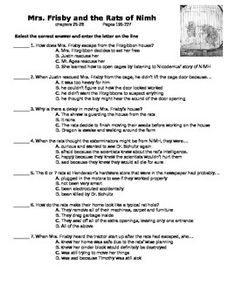 Teaching Mrs. Frisby and the Rats of Nimh: Suggested Activities ...