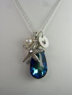 Bridal Jewelry - Beach Wedding Jewelry - Bermuda Blue Starfish Monogram Bridal Necklace. $42.00, via Etsy.