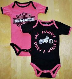 Harley-Davidson® Girl's Infant Creeper. Daddy Rides a Harley. Black and Pink 2-Pack. 1103052 Harley-Davidson,http://www.amazon.com/dp/B00A7BPX7W/ref=cm_sw_r_pi_dp_bJ5ksb009Z1NKEKB