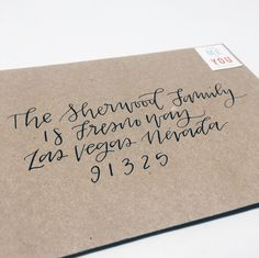 Modern Calligraphy Envelopes. White on Kraft with brush calligraphy. <3
