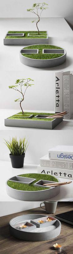 Concrete Handmade-Modern Succulent Planter Flower Pot Pen Pencil Holder Office Desk Stationery Organizer