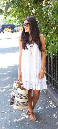 White eyelet dress, summer fashion ideas.