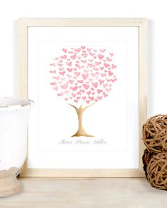 Baby girl personalized name heart family tree watercolor wall art print for nursery or kid's room baby shower new mom gift pale pink grey
