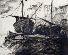Berzolla Pietro, Marina con barcone e case, Galleria d'Arte Moderna Ricci Oddi, Piacenza