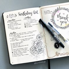 Party planning continues! Oct will be a big month because my youngest is turning the big ONE! So I've been creating a lot of party planning spreads in my #bujo . Throwback to my first thank you florals I did. I'd just flicked to a random page and drew this out and didn't realise I'd catch up to this page so quickly ! So I decided to turn that page into a brain dump page. You can see also tested a lot of my markers on the flowers because I've yet to create a pen test page . Anyone else ...