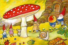 nl I do love red polka dottie mushrooms. Brownie Fairy, David The Gnome, Red And White Mushroom, Beautiful Posters, Woodland Party, Illustrations And Posters, Altered Art, Fairy Tales, Stuffed Mushrooms