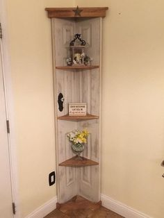 Custom old door corner accent shelf, bookcase, country home decor, vintage cabinet,