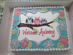 Baby shower cake for a baby girl. Owl themed baby shower. Gena from Bay Country Bakery in Cambridge, Maryland always such a fabulous job. Love it! #baycountrybakery #cake #babyshower #owls