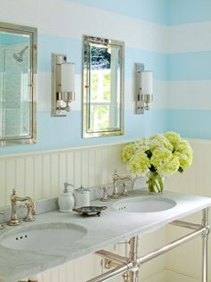 Source: Eric Striffler Beachy Bathroom With Blue Striped Walls, Waterworks  Metal Recessed White Corian Interior Medicine Cabinets, Waterworks  Universal ...