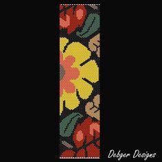 Bead Pattern PeyoteBracelet CuffJungle Flower by FUNPATTERNDESIGNS