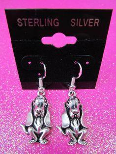 925 Sterling Silver Basset Hound Dog Dangle Earrings #SterlingSilverCare