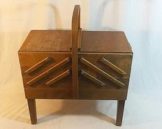 As Strommen Bruk Hamar Sewing Box Wooden Accordian Style Foldout Basket Cabinet