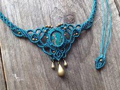 Macrame necklace elven tiara Chrysocolla boho jewelry micro macrame micro-macrame tribal