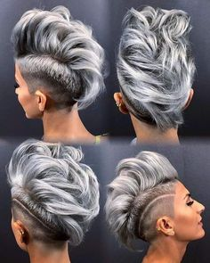 23 BEST IDEAS SHORT HAIRCUTS for WOMEN Punk Pixie Haircut, Pixie Haircuts, Haircut Style, Boy Haircuts, Modern Haircuts, Fade Haircut, Shaved Hair Designs, Funky Hairstyles, Shaved Side Hairstyles