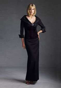 Black mother of the groom dresses can be tasteful and elegant for a formal wedding.  This 3/4 sleeve evening gown could be worn for multiple occasions.  The open neck line adds a bit of sexy.  Our design firm is in the USA and offers women affordable custom mother of the groom #eveningdresses.  You can see more formal evening gowns at http://www.dariuscordell.com/featured/_item/custom-made-mother-of-the-bride-evening-dresses/