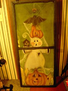 Halloween Window Light Up Decorations . Halloween Window Light Up Decorations . Painted Window Screens, Window Art, Painted Doors, Window Ideas, Window Panes, Autumn Painting, Tole Painting, Fall Paintings, Halloween Painting