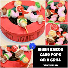 hoopla palooza: shish kabob cake pops on a grill! a cake pop surprise made just for dad on a grill made out of a foam wreath.