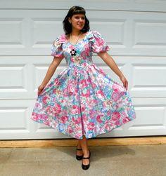 1980s Vintage Pink Teal Floral Dress Full Skirt by Enchantedfuture, $26.00
