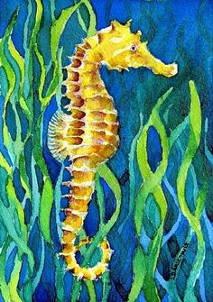 "Deep SeaHorse II by Lorraine Arsenault Watercolor ~ 7"" x 5"""