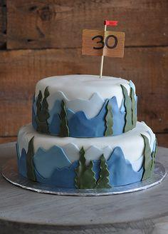 gâteau 30e anniversaire, homme, montagne
