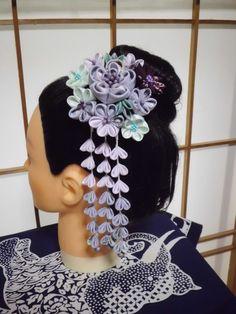 LAVENDER and blue mint bouquet Tsumami KANZASHI Hair STICK with sagari dangles