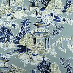 Hamilton Ming Rain Chinoiserie Print Fabric asian oriental toile with navy and tan on a spa background. High quality cotton fabric and designer look. Oriental Print, Oriental Design, Oriental Pattern, Chinese Fabric, Asian Fabric, Decoration, Art Decor, Chinoiserie Fabric, Toile Wallpaper