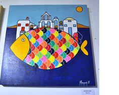 The Island. Pop art Greece. Acrylic painting by Anna Baramati.