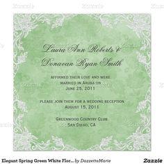 Elegant Spring Green White Floral Damask Post Wedd Invitation