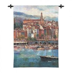 Fine Art Tapestries Mediterranean Harbor Tapestry - Peter Bell - 2606-WH