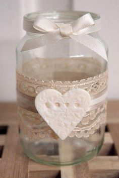 Jam Jar tea light holders - I love these! Jam Jar Crafts, Crafts With Glass Jars, Bottle Crafts, Jam Jar Candles, Diy Candles, Candle Jars, Mason Jar Wedding Favors, Mason Jars, Decorated Jars
