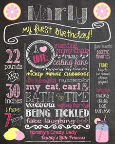 Pink Lemonade First Birthday Chalkboard Poster Pink and Yellow 1st Birthday Chalk Board Sign Printable Summertime Birthday Photo Prop on Etsy, $34.00