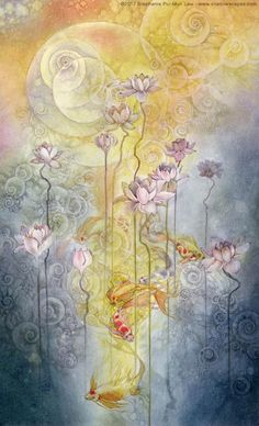 Stephanie Law - watercolor painter, botanical illustrator and artist of fantastical dreamworld imagery. Watercolor Illustration, Watercolor Art, Art Magique, Illustrator, Sacred Geometry, Fantasy Art, Street Art, Artsy, Animation
