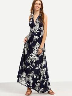 Navy Floral V Neck Tie Waist Crisscross Maxi Dress